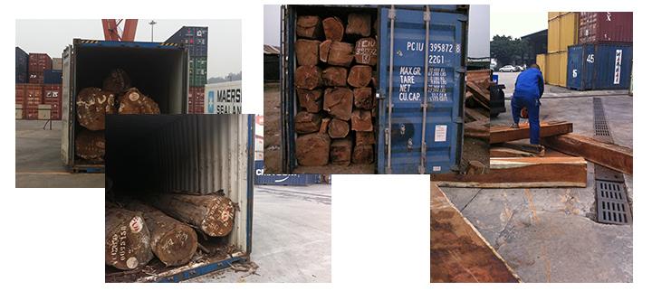 木材进口港口现场图片